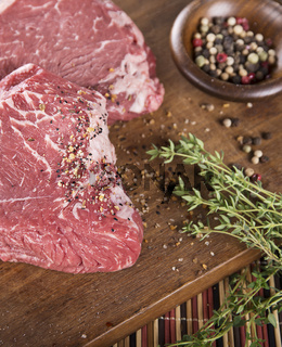 Raw beef steak with spices