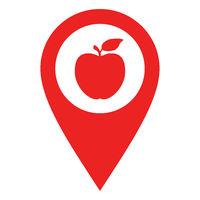 Apfel und Kartenmarkierung - Apple and location pin