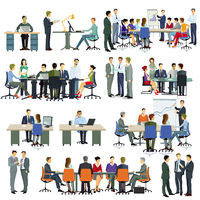 Business Team bei einer Besprechung– Illustration