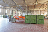 Big Plastic Crates Pallets in Distribution Warehouse