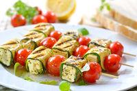 Grilled feta zucchini skewers