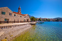 Cavtat beach and waterfront church view