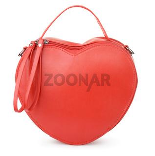 Red heart-shaped leather handbag