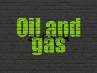 Manufacuring concept: Oil and Gas on wall background