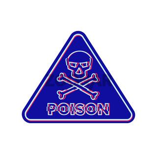Poison Symbol Neon Flickering Icon