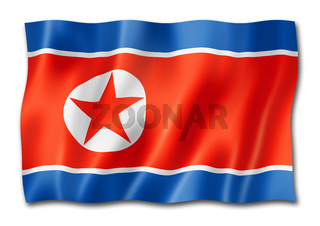 North Korean flag isolated on white