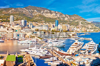 Monaco and Monte Carlo cityscape and harbor colorful panoramic view