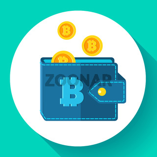 Bitcoin wallet icon flat style, cryptocurrency wallet icon vector