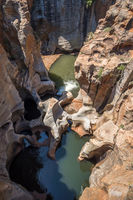 Bourke's Luck Potholes rock formation in Blyde River Canyon Reserve, South Africa.