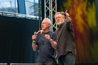 STUTTGART, GERMANY - JUN 29th 2019: Brent Spiner and Jonathan Frakes at Comic Con Germany Stuttgart