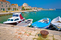 Colorful harbor and waterfront of Krapanj island