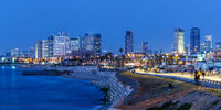 Tel Aviv skyline panorama Israel blue hour city sea skyscrapers