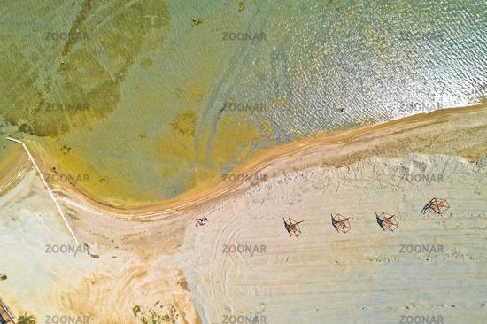 Sand beach aerial drone view