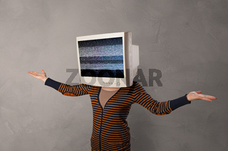 Young person with monitor on head
