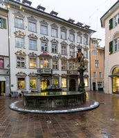 Schaffhausen, SH / Switzerland - January 5, 2019: the historic old town city center of Schaffhausen