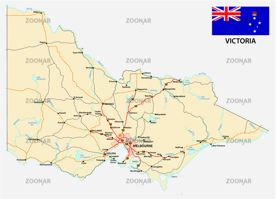 Road map of the australian state victoria with flag