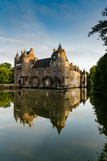 vertical view of historic Chateau Trecesson castle in the Broceliande Forest with reflections in the pond
