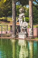 Tivoli - Villa Adriana Canopo - Lazio - Italy statue of roman hero god with helmet and shield