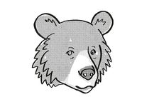 Asiatic Black Bear or Ursus tibetanus Endangered Wildlife Cartoon Mono Line Drawing
