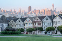 Sunset over the Painted Ladies of San Francisco.