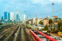 Railroad, train, urban cityscape, Frankfurt