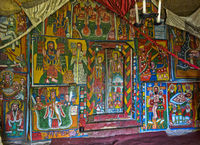 Canvas paintings with biblical motifs, orthodox rock-hewn church Mikael Mellehayzengi, Ethiopia
