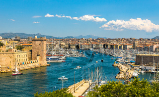 Panoramic view of Marseille and old port