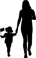 Silhouette of happy family with flag in hand on a white background