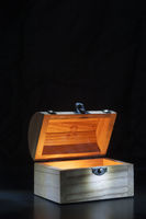 small treasure chest with spot light