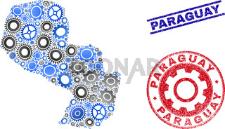 Gear Mosaic Vector Paraguay Map and Grunge Seals