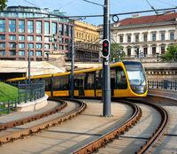 Yellow tram in Budapest