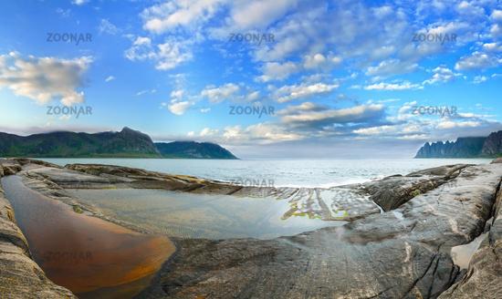 Summer Senja coast panorama, Jagged Ersfjord, Norway