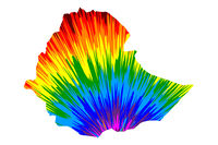 Ethiopia - map is designed rainbow abstract colorful pattern, Federal Democratic Republic of Ethiopia (Horn of Africa) map made of color explosion,