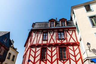 Colorful timber-framed medieval house in Brittany