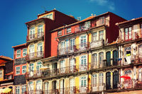 Historic house facade in the old town Foz Velha of Porto on the banks of the Douro River