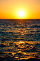 Orange sundown over Mediterranean sea