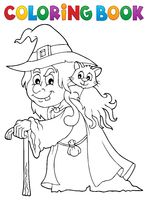 Coloring book witch with cat topic 1