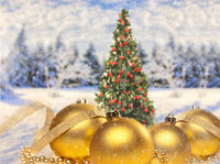 Christmas decoration with christmas tree and landscape