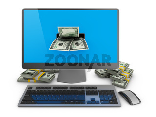 Computer and  dollars