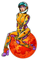 red planet Mars sexy beautiful woman astronaut isolate on white background