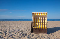 Typical beach chairs on the beach in Ahlbeck, Germany