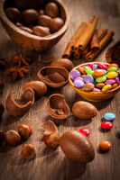 Sweet chocolate eggs for Easter