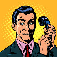 mouth shut. serious man talking on a retro phone