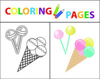 Coloring book page for kids. Ice cream and candy on a stick. Sketch outline and color version. Childrens education. Vector illustration.