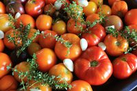 Ready for roast tomatoes with herbs, garlic and balsamic vinegar, selective focus