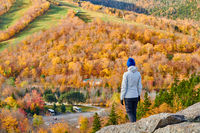 Woman tourist at Artist's Bluff in autumn