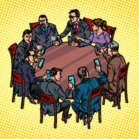 businessmen meeting man and woman. smartphones gadgets technology