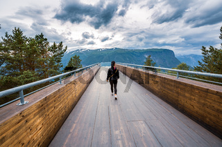 Stegastein Lookout Beautiful Nature Norway observation deck view point.