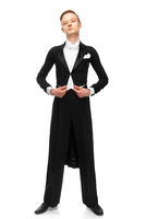 ballroom dancer dressed in a tailcoat on white background
