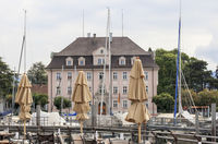 Historic building at the harbor of Lindau island, Lake Constance